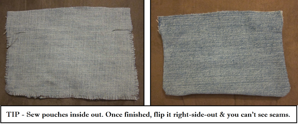 sew pouches inside out