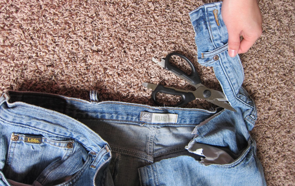 cutting old jeans