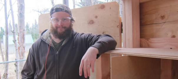 Brian Hall with Chicken Coop