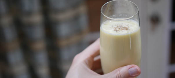 homemade eggnog in glass