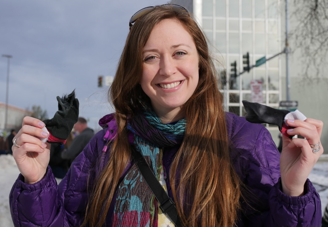 Ashley Taborsky with Anchorage iditarod sled dog booties