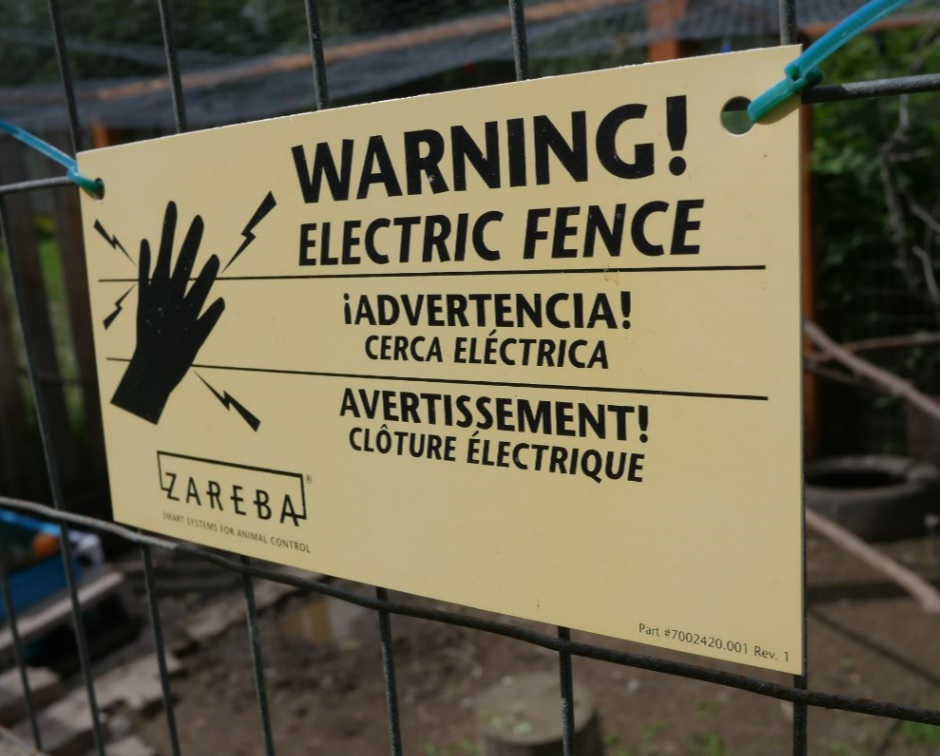 chicken coop electric fence warning