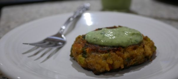 salmon cake with cilantro lime aioli