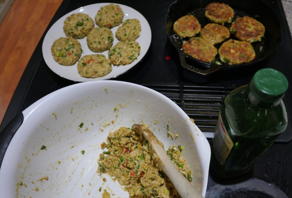 frying salmon cakes in cast iron