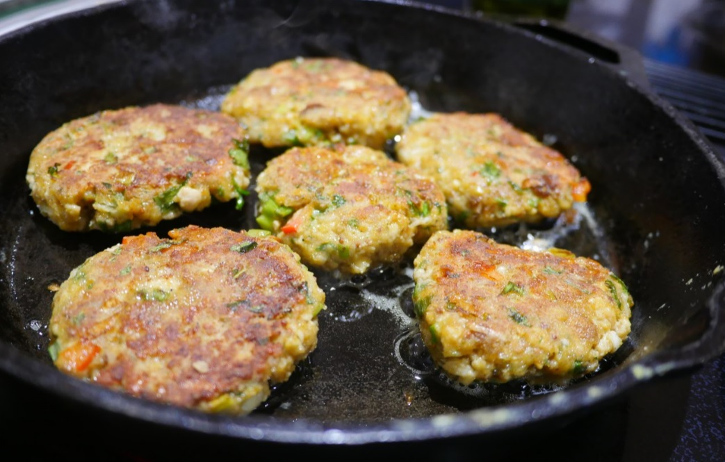 salmon cake patties in cast iron pan