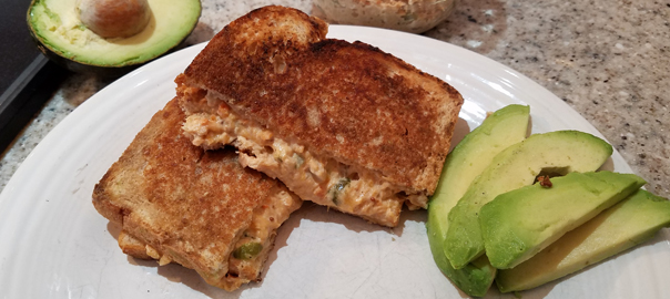 Hot grilled salmon melt with side of avocado